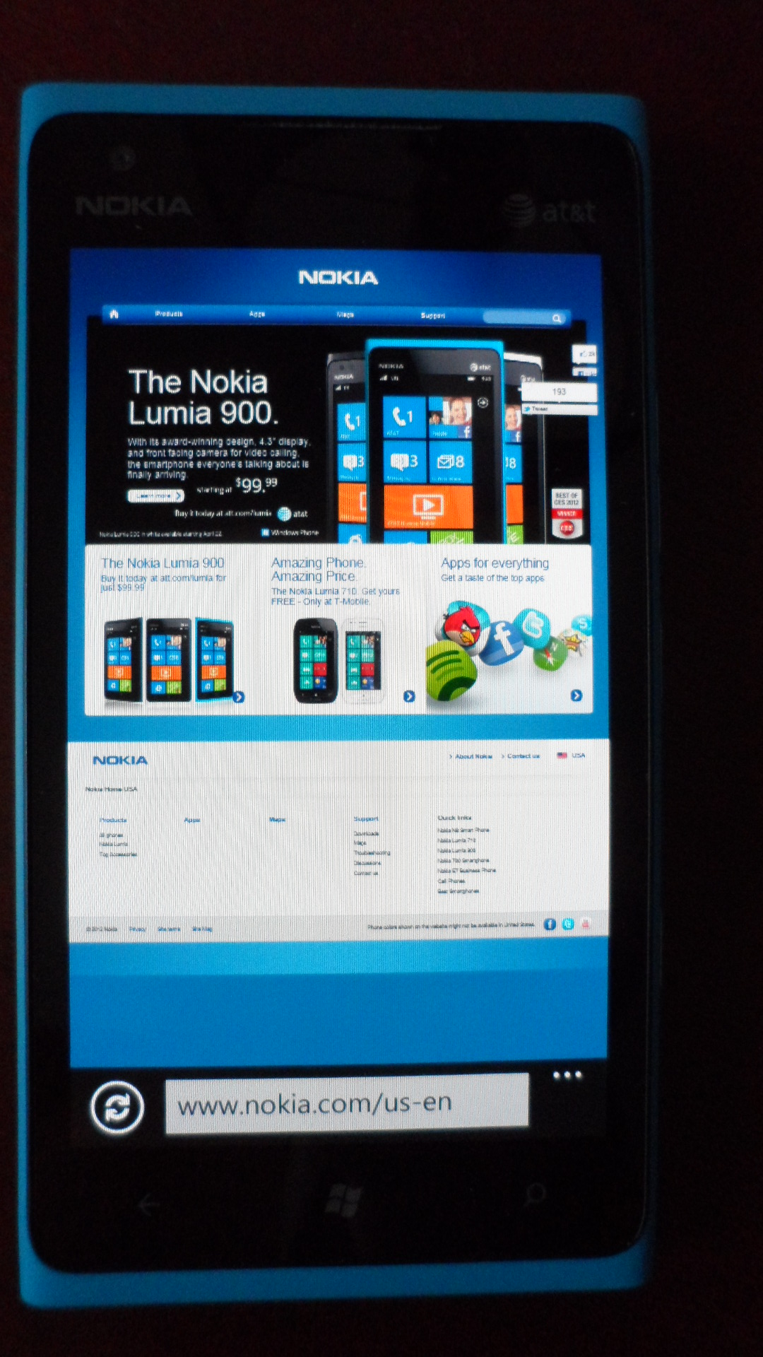 Nokia Lumia 900 – Internet Explorer browser
