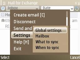 Email UI on the E72